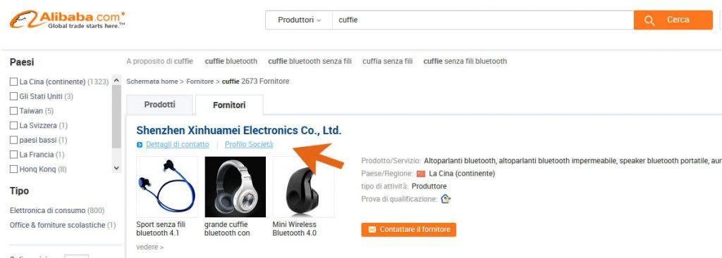 Cercare prodotti su Alibaba